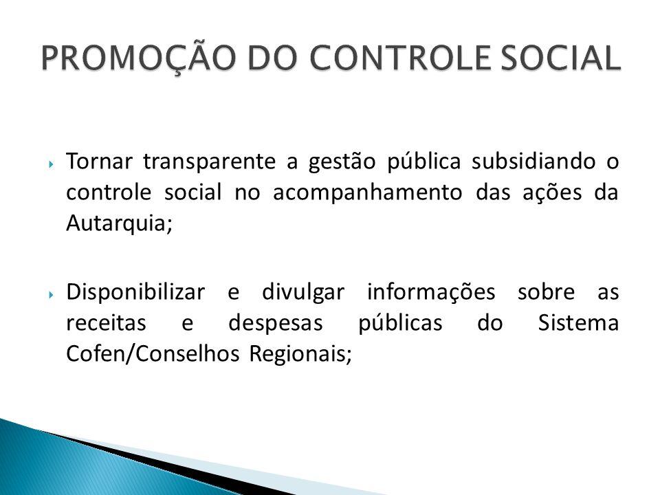 Tornar transparente a gestão pública subsidiando o controle social no acompanhamento das ações da Autarquia; Disponibilizar e divulgar informações sob