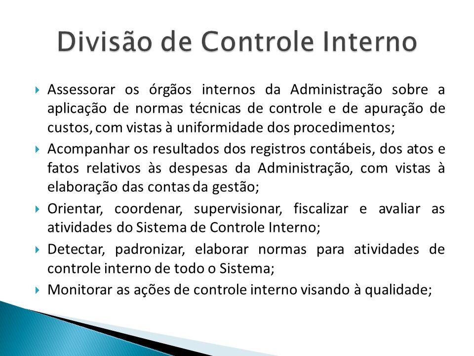 Assessorar os órgãos internos da Administração sobre a aplicação de normas técnicas de controle e de apuração de custos, com vistas à uniformidade dos