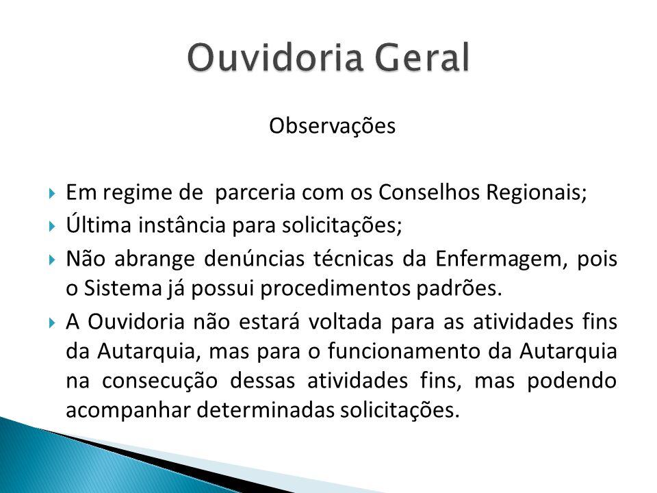 Observações Em regime de parceria com os Conselhos Regionais; Última instância para solicitações; Não abrange denúncias técnicas da Enfermagem, pois o