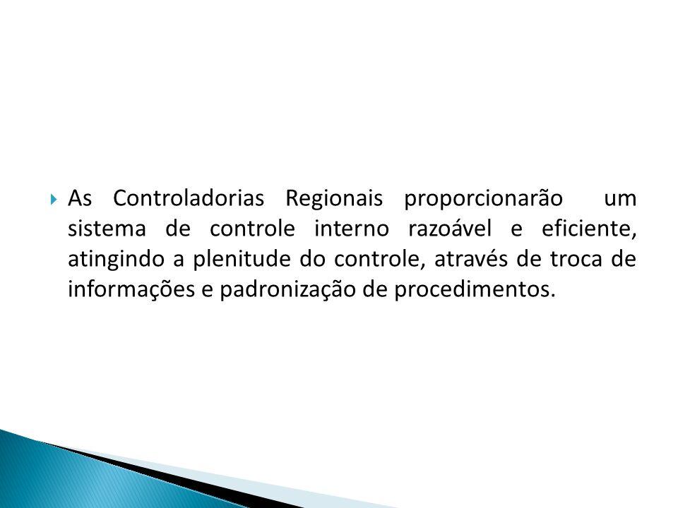 As Controladorias Regionais proporcionarão um sistema de controle interno razoável e eficiente, atingindo a plenitude do controle, através de troca de