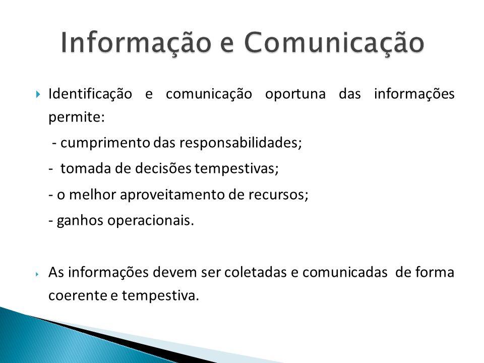 Identificação e comunicação oportuna das informações permite: - cumprimento das responsabilidades; - tomada de decisões tempestivas; - o melhor aprove