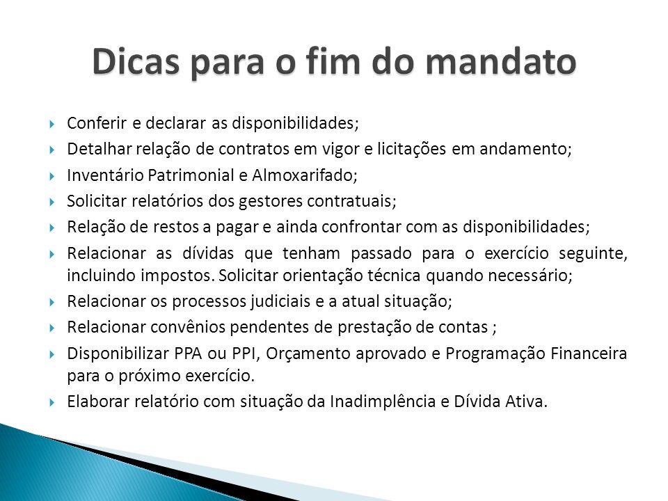 Conferir e declarar as disponibilidades; Detalhar relação de contratos em vigor e licitações em andamento; Inventário Patrimonial e Almoxarifado; Soli