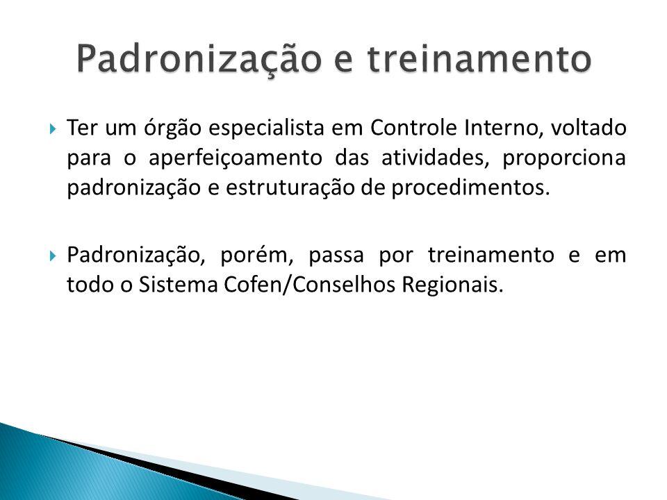 Ter um órgão especialista em Controle Interno, voltado para o aperfeiçoamento das atividades, proporciona padronização e estruturação de procedimentos