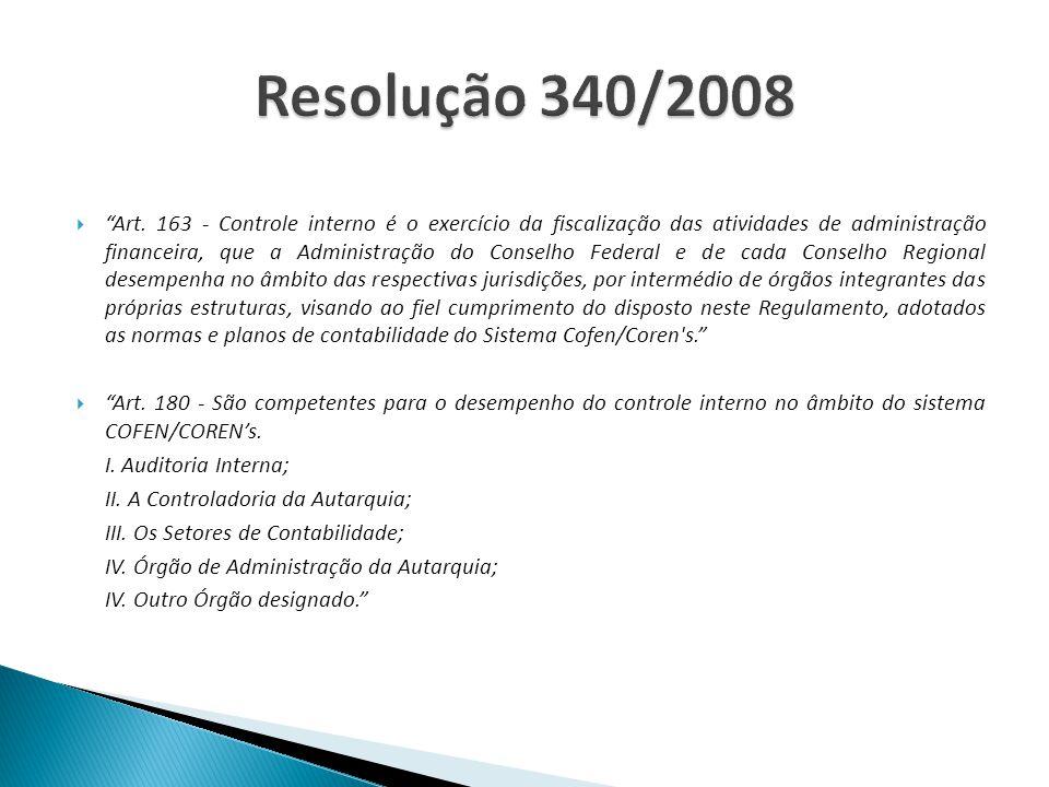 . Art. 163 - Controle interno é o exercício da fiscalização das atividades de administração financeira, que a Administração do Conselho Federal e de c