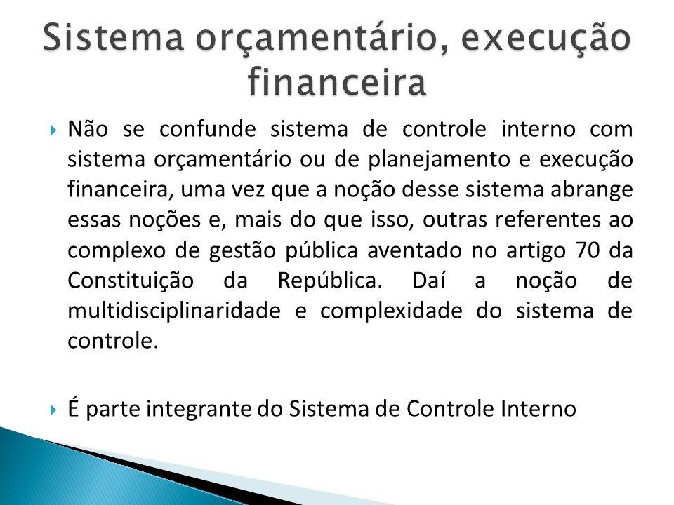 Não se confunde sistema de controle interno com sistema orçamentário ou de planejamento e execução financeira, uma vez que a noção desse sistema abran