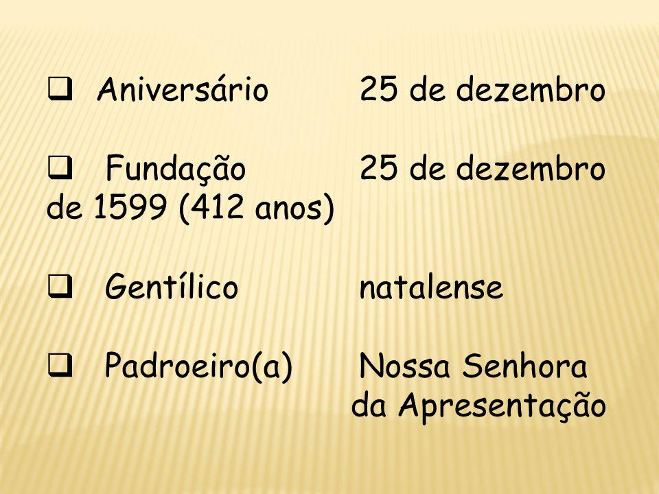 Aniversário 25 de dezembro Fundação 25 de dezembro de 1599 (412 anos) Gentílico natalense Padroeiro(a) Nossa Senhora da Apresentação