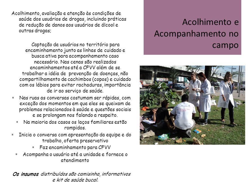 Acolhimento, avaliação e atenção às condições de saúde dos usuários de drogas, incluindo práticas de redução de danos aos usuários de álcool e outras
