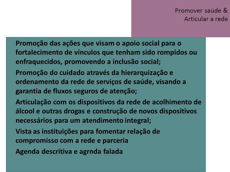 Promoção das ações que visam o apoio social para o fortalecimento de vínculos que tenham sido rompidos ou enfraquecidos, promovendo a inclusão social;