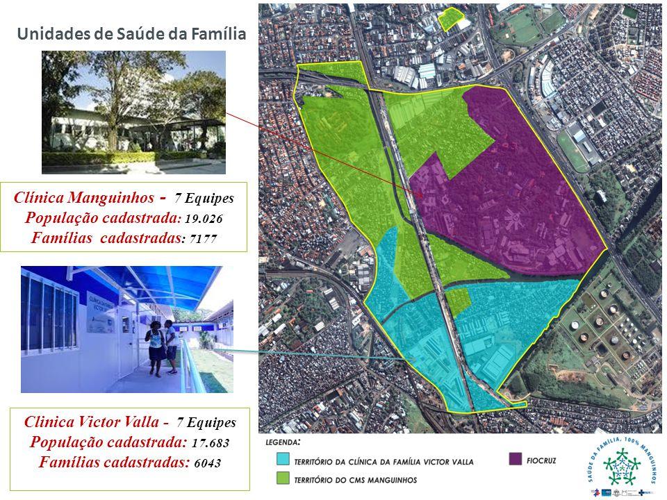 Unidades de Saúde da Família Clinica Victor Valla - 7 Equipes População cadastrada: 17.683 Famílias cadastradas: 6043 Clínica Manguinhos - 7 Equipes P