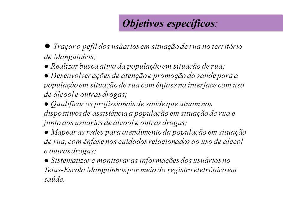 Ausência de informações sobre o proceso de trabalho das equipes de consultorio na rua.