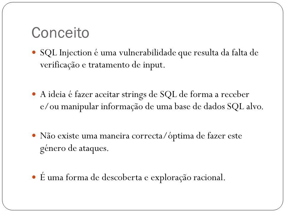 Conceito SQL Injection é uma vulnerabilidade que resulta da falta de verificação e tratamento de input. A ideia é fazer aceitar strings de SQL de form