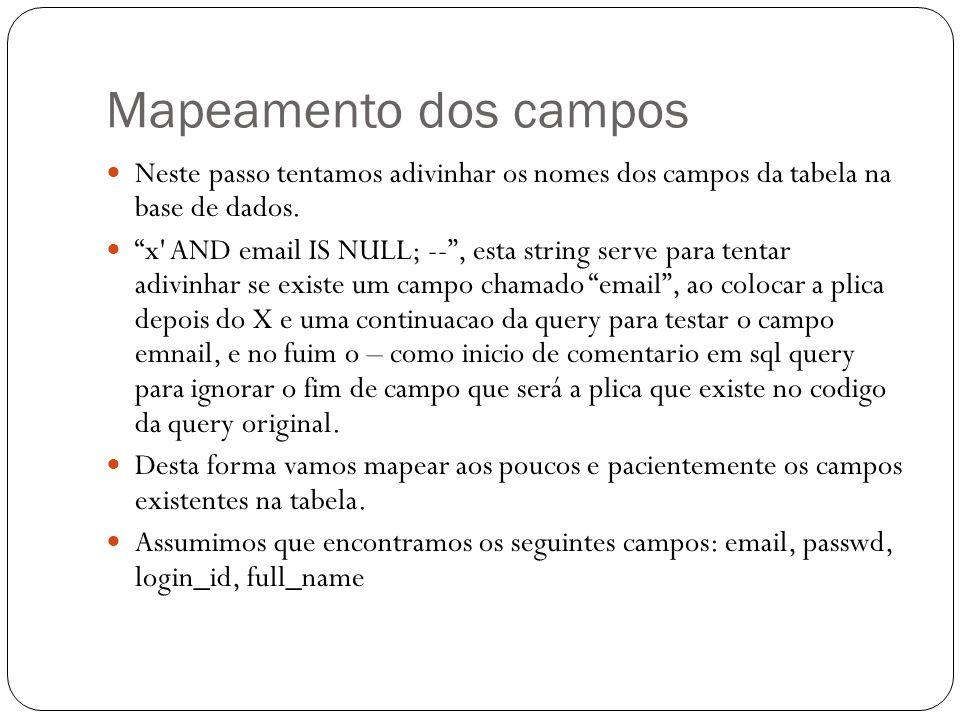 Mapeamento dos campos Neste passo tentamos adivinhar os nomes dos campos da tabela na base de dados. x' AND email IS NULL; --, esta string serve para