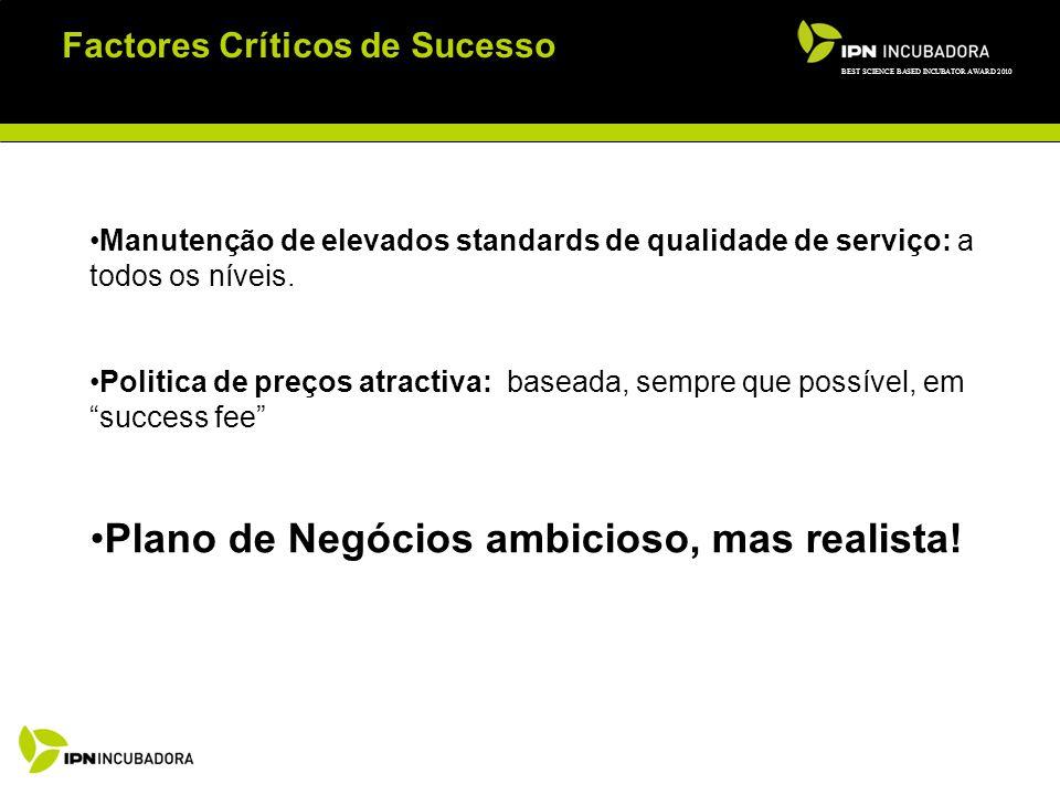 Factores Críticos de Sucesso Manutenção de elevados standards de qualidade de serviço: a todos os níveis.