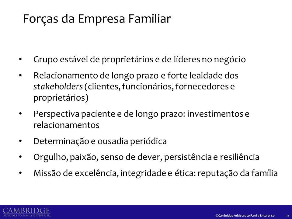 ©Cambridge Advisors to Family Enterprise Forças da Empresa Familiar 13 Grupo estável de proprietários e de líderes no negócio Relacionamento de longo