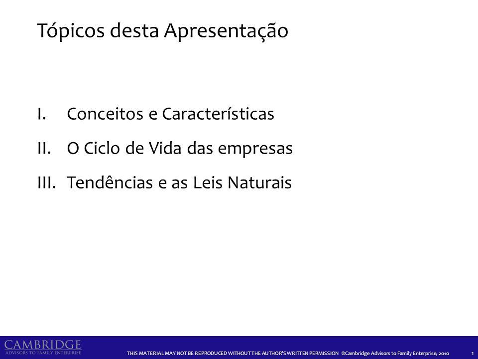 ©Cambridge Advisors to Family Enterprise CONCEITOS E CARACTERÍSTICAS 2
