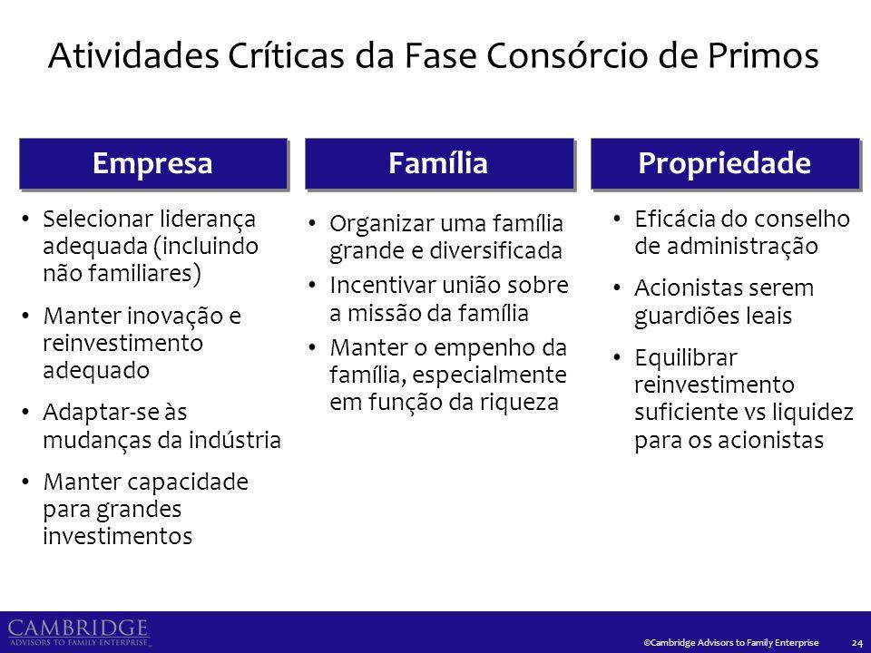 ©Cambridge Advisors to Family Enterprise Atividades Críticas da Fase Consórcio de Primos 24 Propriedade Empresa Família Eficácia do conselho de admini