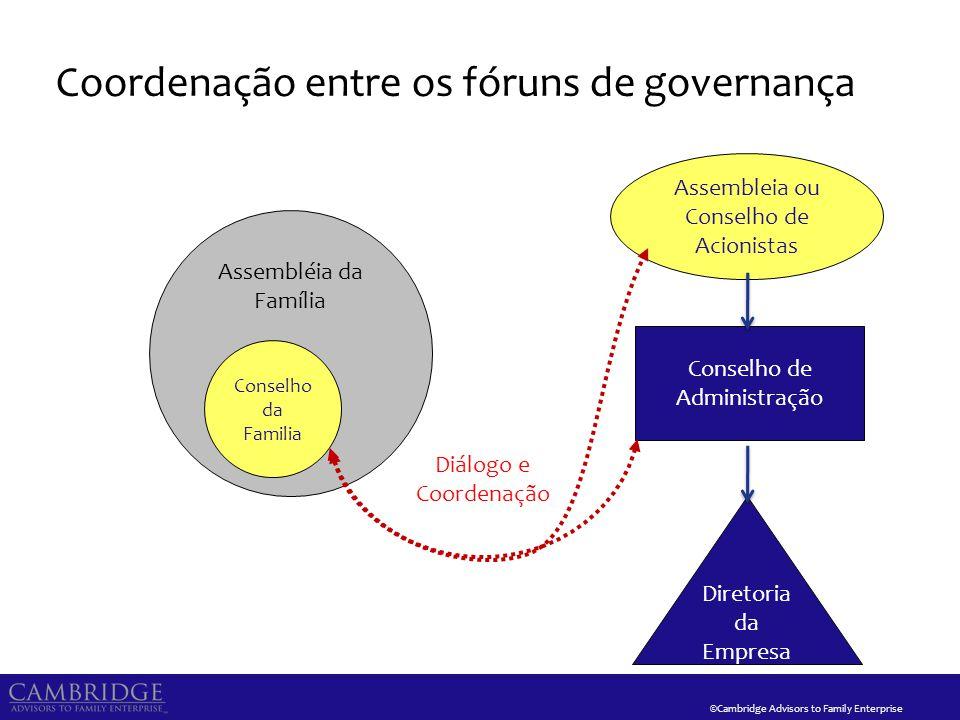©Cambridge Advisors to Family Enterprise Coordenação entre os fóruns de governança Assembleia ou Conselho de Acionistas Conselho de Administração Dire