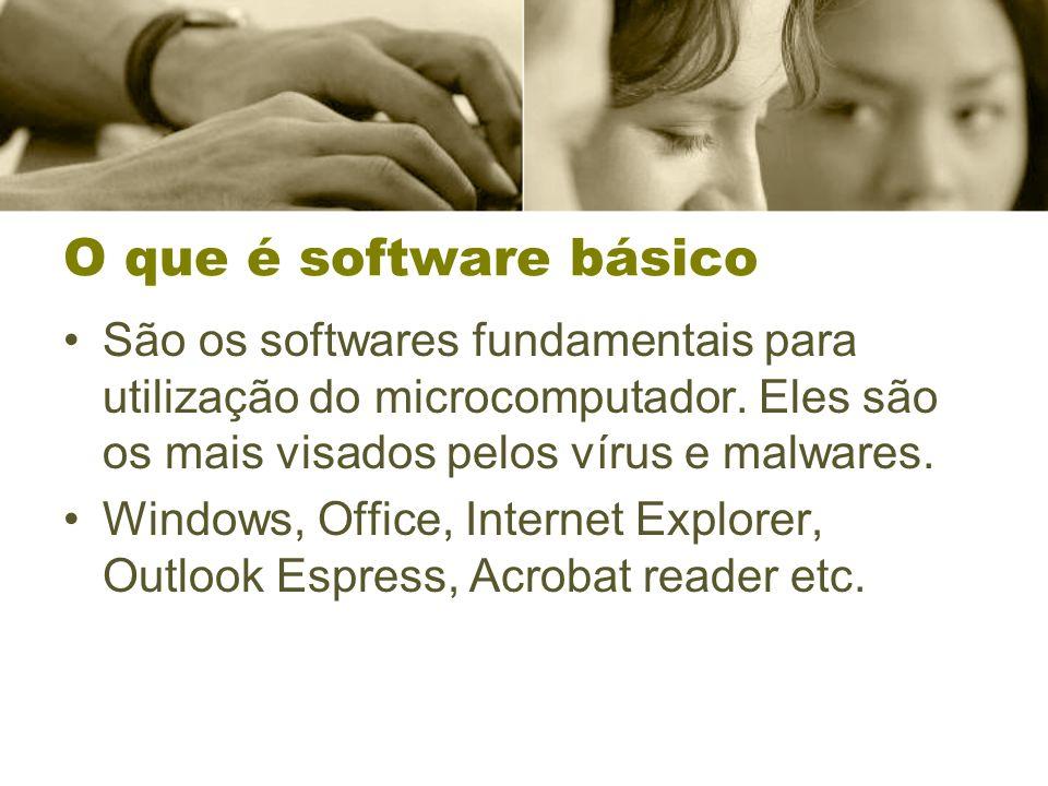 O que é software básico São os softwares fundamentais para utilização do microcomputador. Eles são os mais visados pelos vírus e malwares. Windows, Of