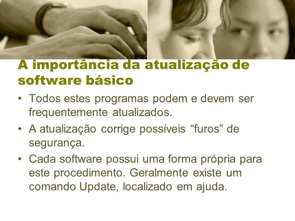 A importância da atualização de software básico Todos estes programas podem e devem ser frequentemente atualizados. A atualização corrige possíveis fu