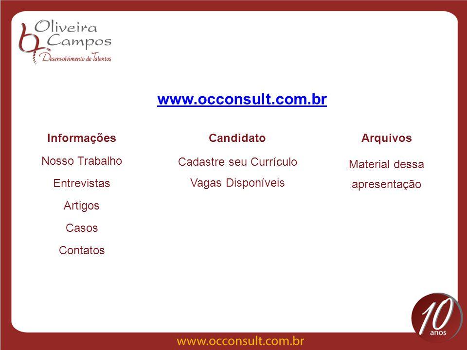 Nosso Trabalho Entrevistas Artigos Casos Contatos Material dessa apresentação www.occonsult.com.br Cadastre seu Currículo InformaçõesCandidatoArquivos