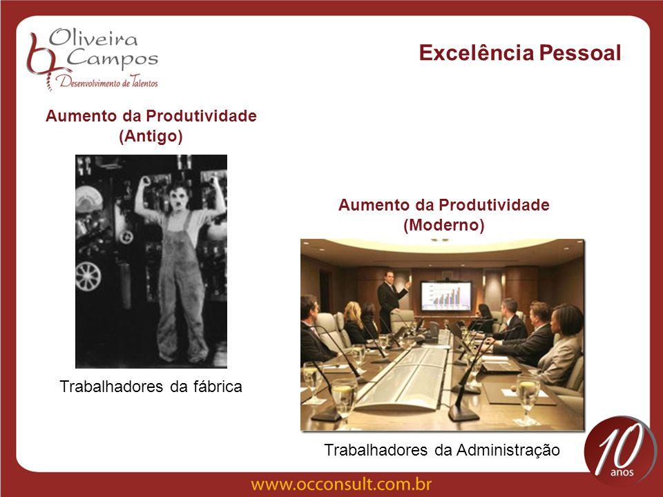 Excelência Pessoal Aumento da Produtividade (Antigo) Trabalhadores da fábrica Aumento da Produtividade (Moderno) Trabalhadores da Administração