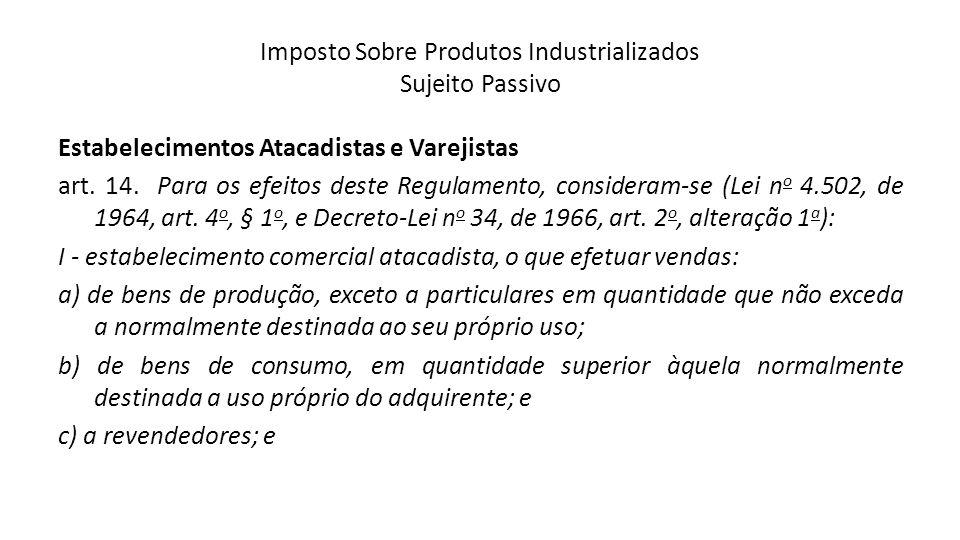 Imposto Sobre Produtos Industrializados Sujeito Passivo Estabelecimentos Atacadistas e Varejistas art. 14. Para os efeitos deste Regulamento, consider