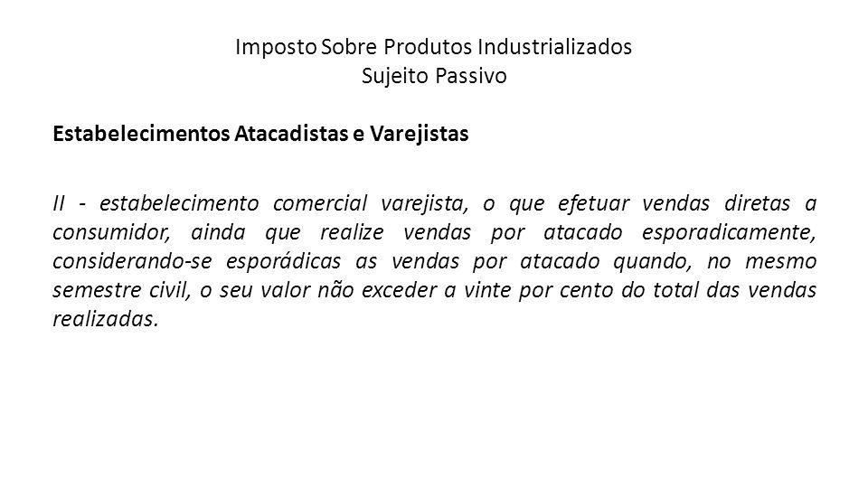 Imposto Sobre Produtos Industrializados Sujeito Passivo Estabelecimentos Atacadistas e Varejistas II - estabelecimento comercial varejista, o que efet