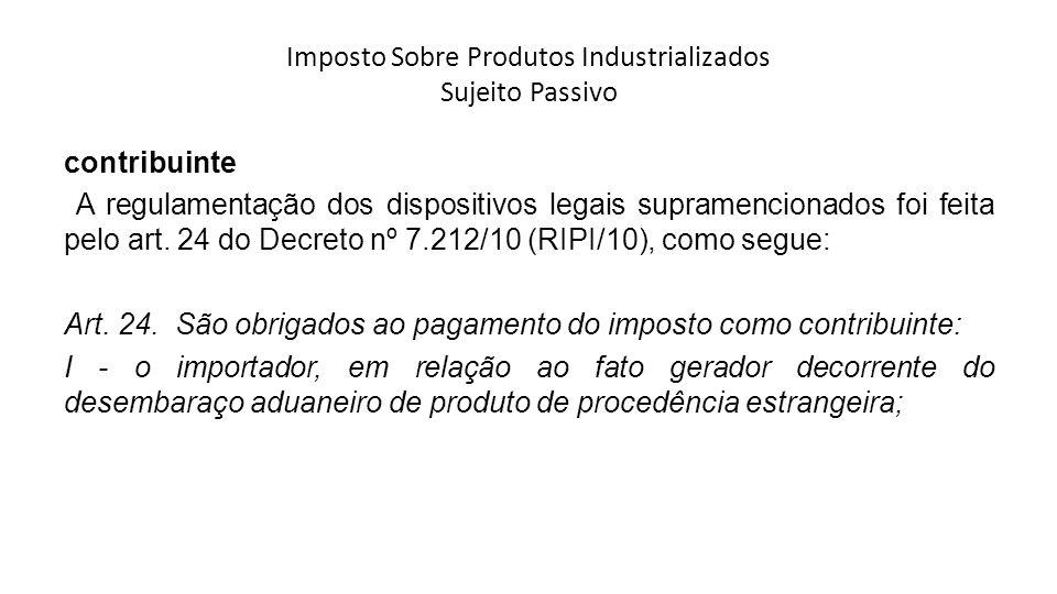 Imposto Sobre Produtos Industrializados Sujeito Passivo contribuinte A regulamentação dos dispositivos legais supramencionados foi feita pelo art. 24