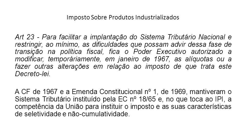 Imposto Sobre Produtos Industrializados Art 23 - Para facilitar a implantação do Sistema Tributário Nacional e restringir, ao mínimo, as dificuldades