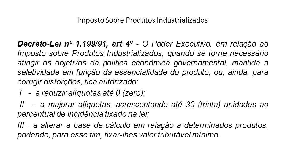Imposto Sobre Produtos Industrializados Decreto-Lei nº 1.199/91, art 4º - O Poder Executivo, em relação ao Imposto sobre Produtos Industrializados, qu