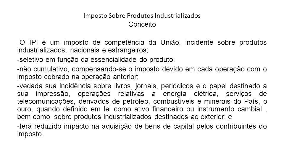 Imposto Sobre Produtos Industrializados Conceito -O IPI é um imposto de competência da União, incidente sobre produtos industrializados, nacionais e e
