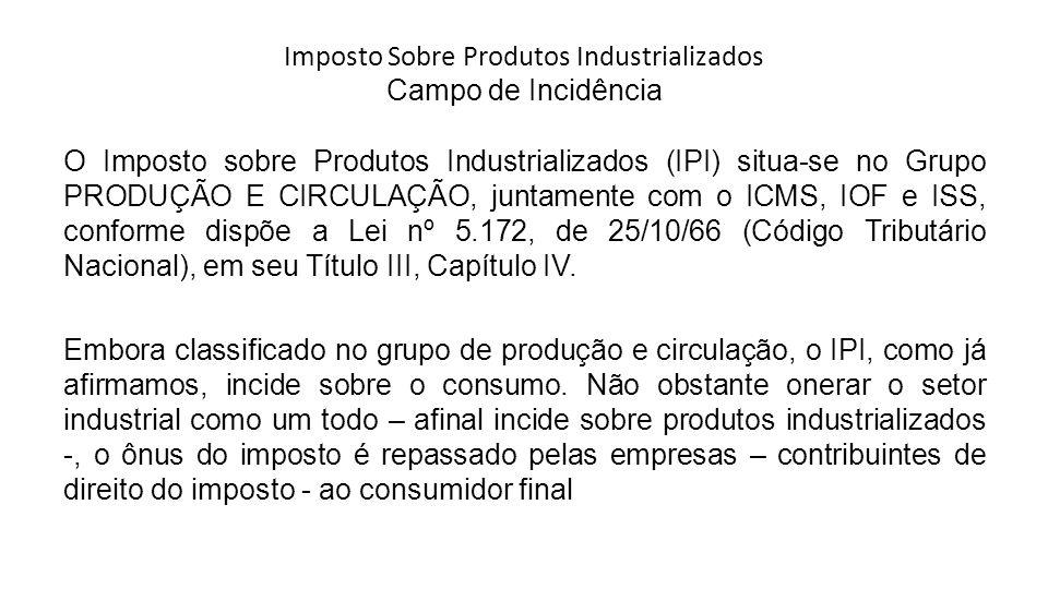 Imposto Sobre Produtos Industrializados Campo de Incidência O Imposto sobre Produtos Industrializados (IPI) situa-se no Grupo PRODUÇÃO E CIRCULAÇÃO, j