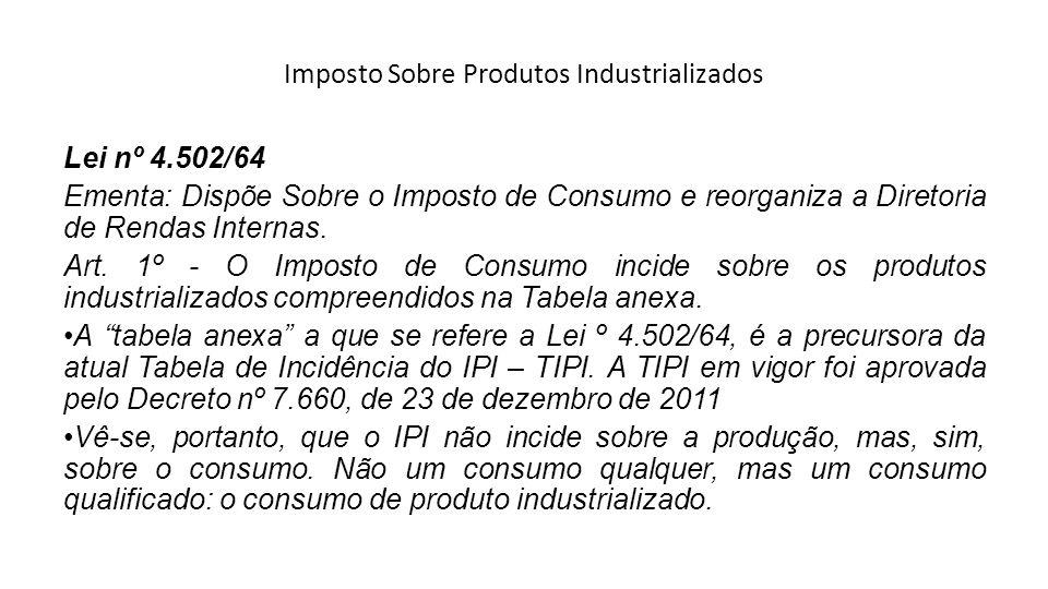 Imposto Sobre Produtos Industrializados Lei nº 4.502/64 Ementa: Dispõe Sobre o Imposto de Consumo e reorganiza a Diretoria de Rendas Internas. Art. 1º
