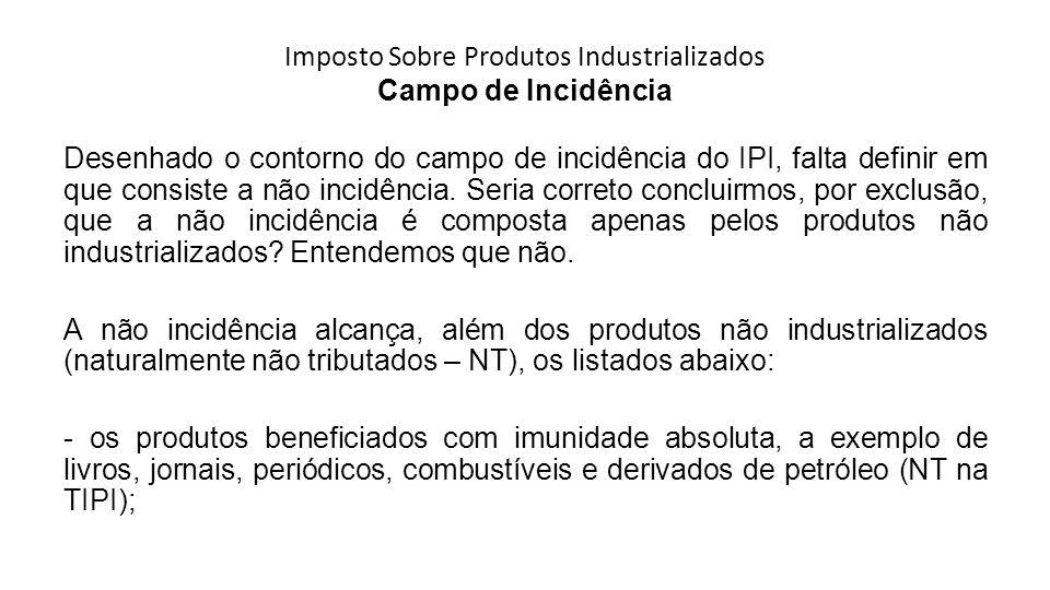Imposto Sobre Produtos Industrializados Campo de Incidência Desenhado o contorno do campo de incidência do IPI, falta definir em que consiste a não in