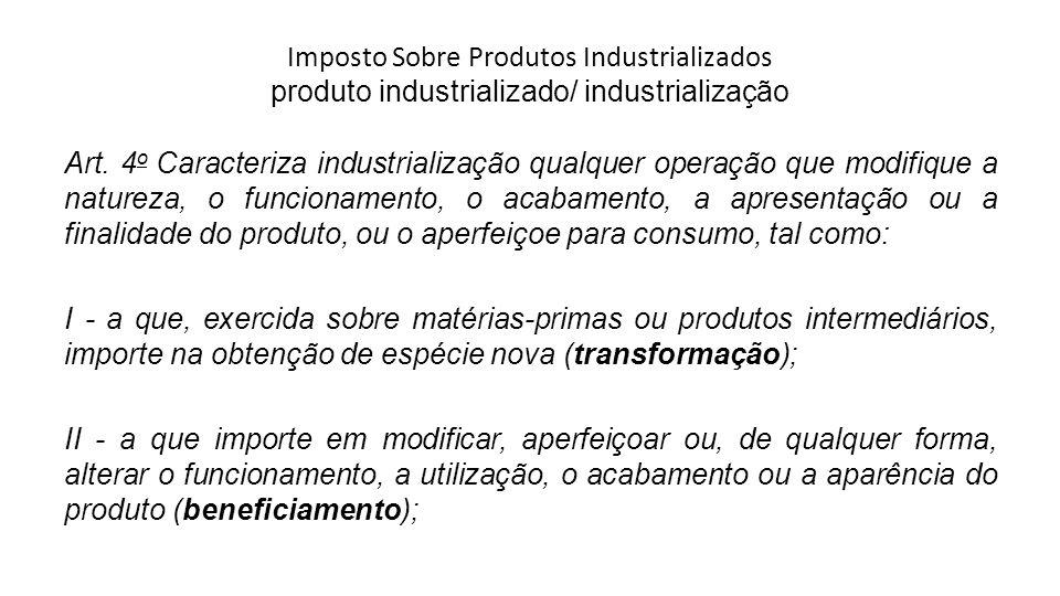 Imposto Sobre Produtos Industrializados produto industrializado/ industrialização Art. 4 o Caracteriza industrialização qualquer operação que modifiqu
