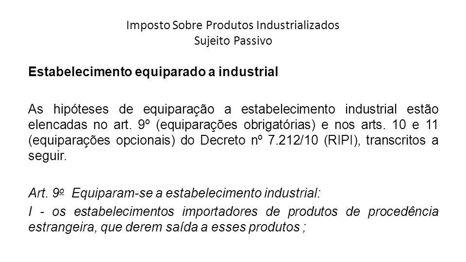Imposto Sobre Produtos Industrializados Sujeito Passivo Estabelecimento equiparado a industrial As hipóteses de equiparação a estabelecimento industri