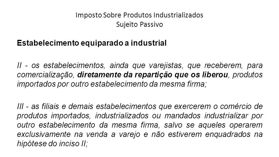 Imposto Sobre Produtos Industrializados Sujeito Passivo Estabelecimento equiparado a industrial II - os estabelecimentos, ainda que varejistas, que re