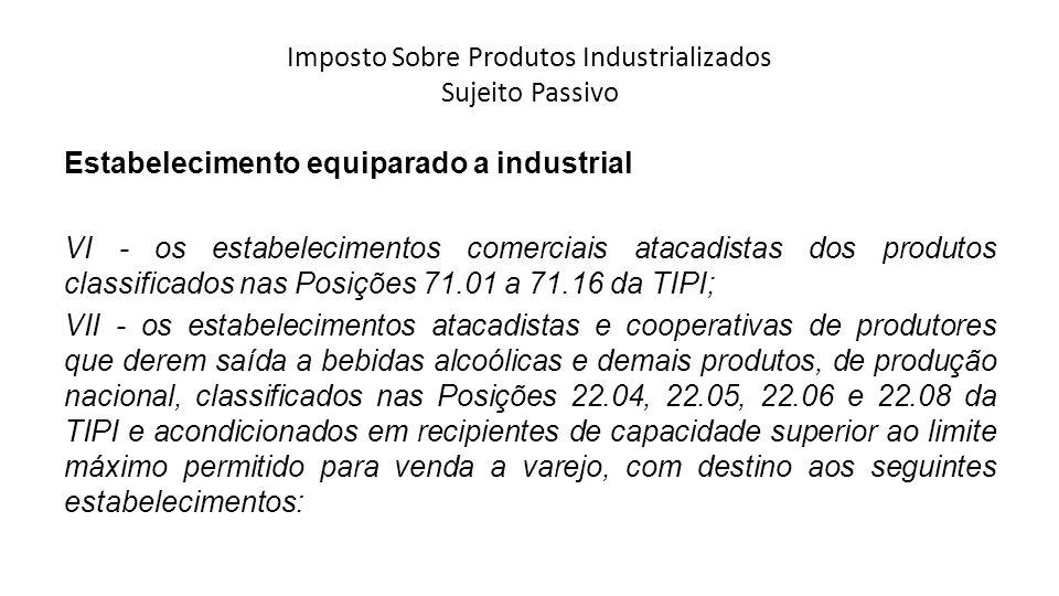 Imposto Sobre Produtos Industrializados Sujeito Passivo Estabelecimento equiparado a industrial VI - os estabelecimentos comerciais atacadistas dos pr