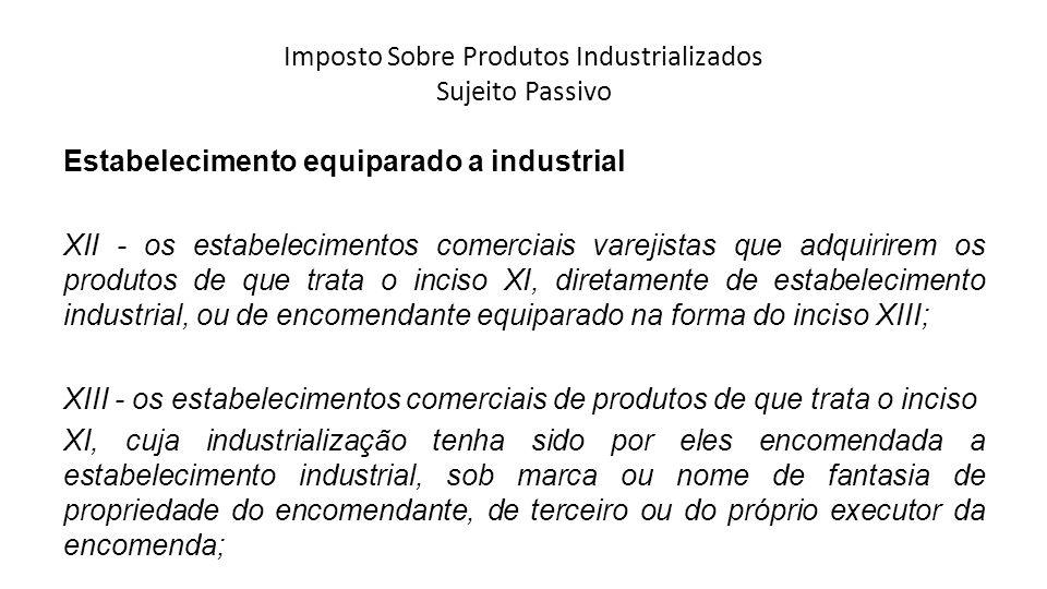 Imposto Sobre Produtos Industrializados Sujeito Passivo Estabelecimento equiparado a industrial XII - os estabelecimentos comerciais varejistas que ad
