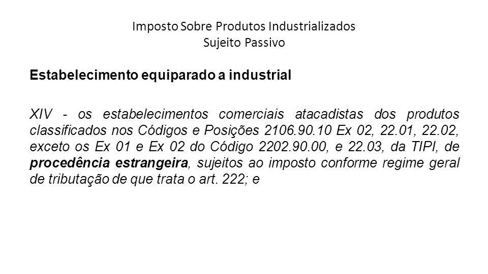 Imposto Sobre Produtos Industrializados Sujeito Passivo Estabelecimento equiparado a industrial XIV - os estabelecimentos comerciais atacadistas dos p
