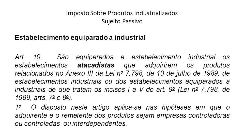 Imposto Sobre Produtos Industrializados Sujeito Passivo Estabelecimento equiparado a industrial Art. 10. São equiparados a estabelecimento industrial