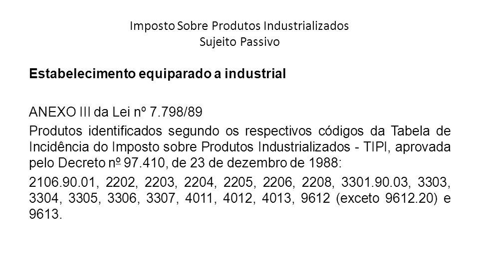 Imposto Sobre Produtos Industrializados Sujeito Passivo Estabelecimento equiparado a industrial ANEXO III da Lei nº 7.798/89 Produtos identificados se
