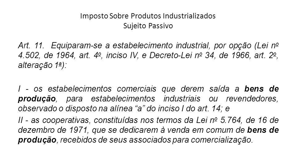 Imposto Sobre Produtos Industrializados Sujeito Passivo Art. 11. Equiparam-se a estabelecimento industrial, por opção (Lei n o 4.502, de 1964, art. 4