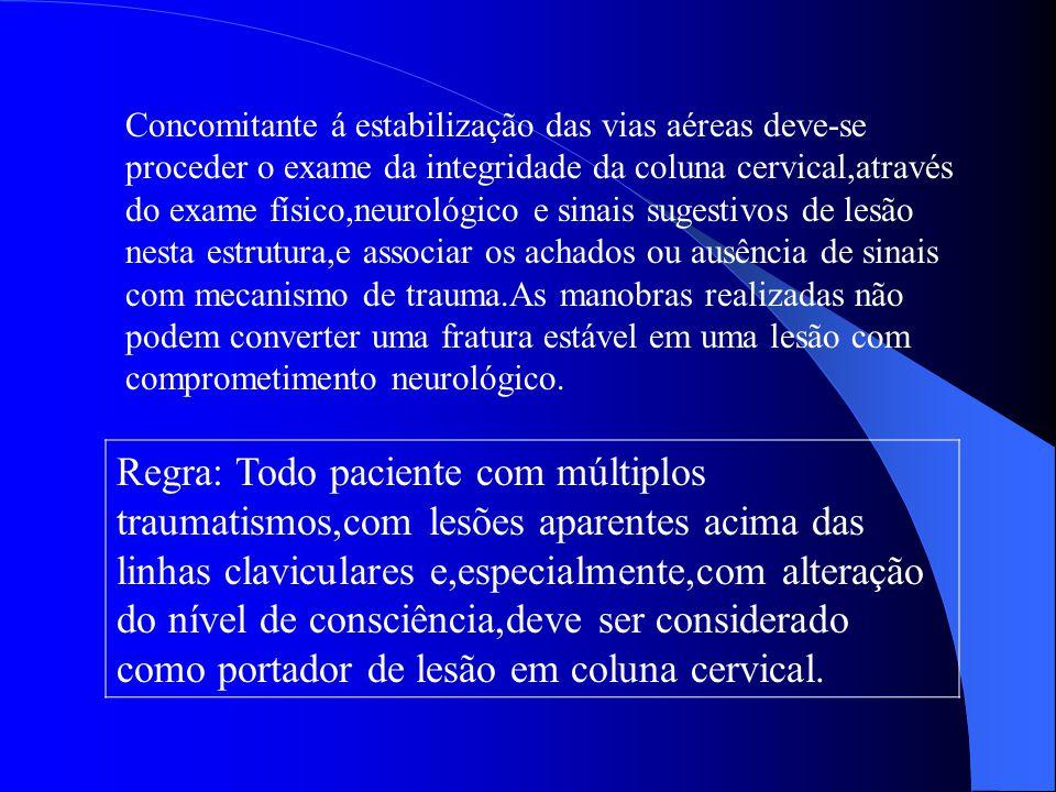 Concomitante á estabilização das vias aéreas deve-se proceder o exame da integridade da coluna cervical,através do exame físico,neurológico e sinais s