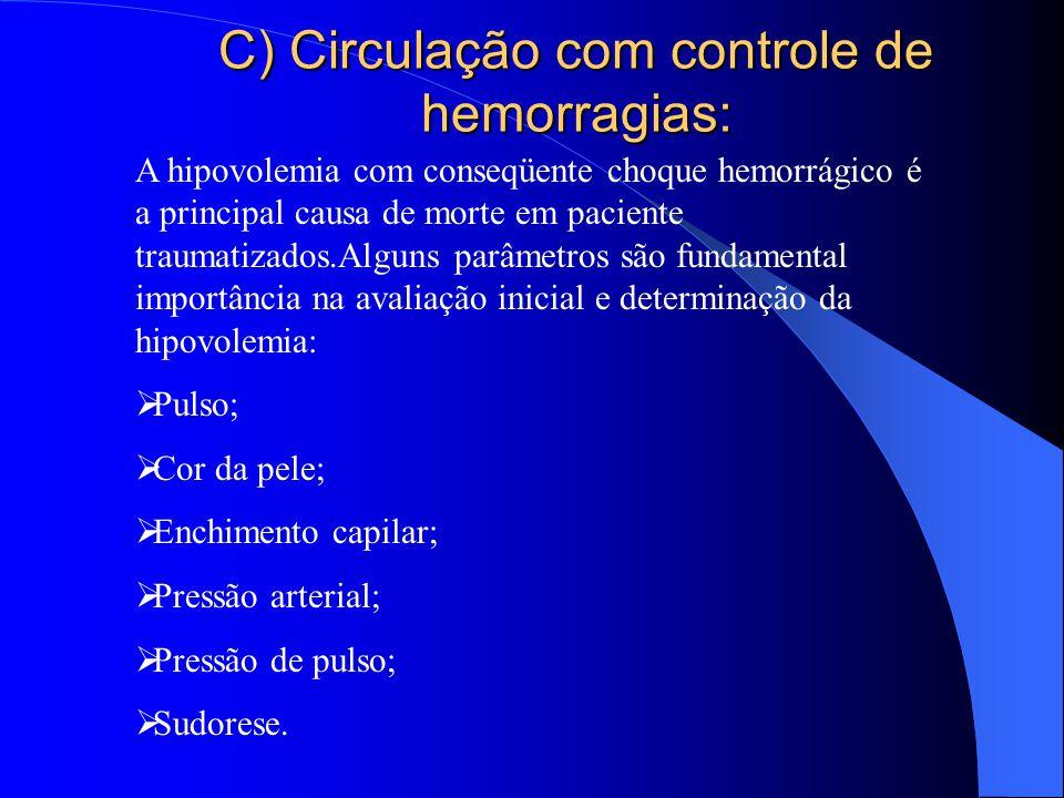 C) Circulação com controle de hemorragias: A hipovolemia com conseqüente choque hemorrágico é a principal causa de morte em paciente traumatizados.Alg