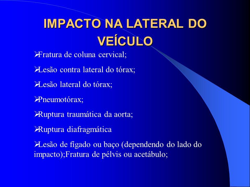 IMPACTO NA LATERAL DO VEÍCULO Fratura de coluna cervical; Lesão contra lateral do tórax; Lesão lateral do tórax; Pneumotórax; Ruptura traumática da ao