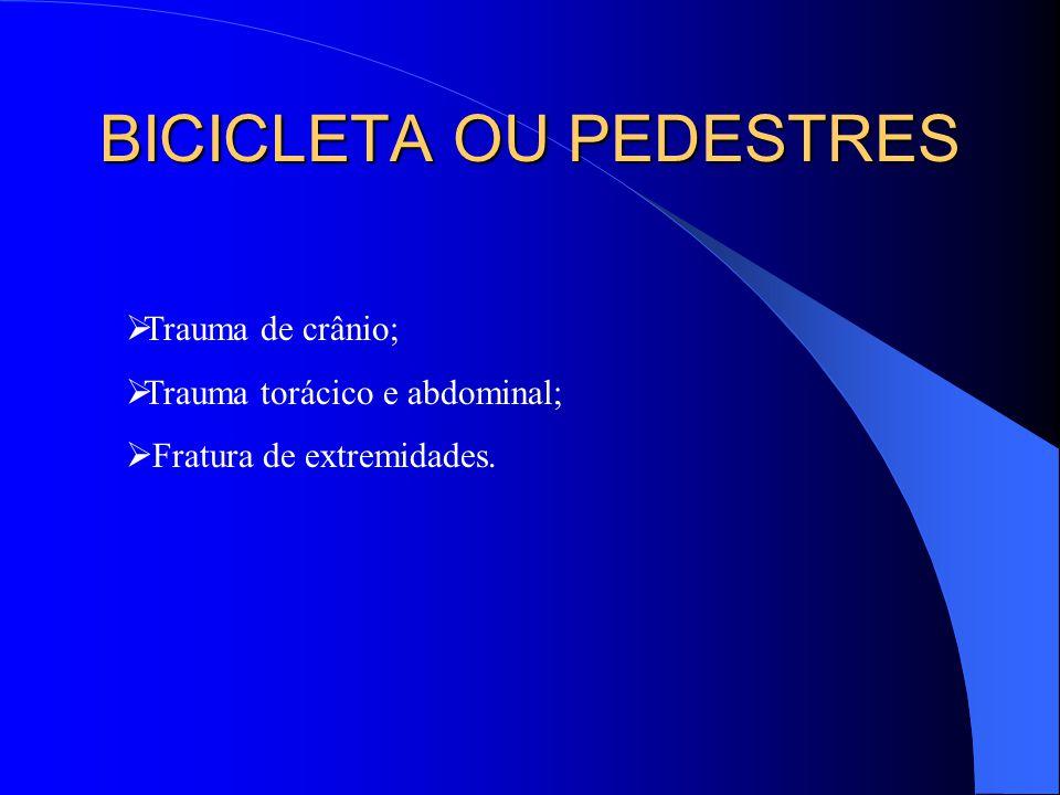 BICICLETA OU PEDESTRES Trauma de crânio; Trauma torácico e abdominal; Fratura de extremidades.