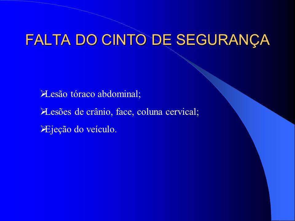 FALTA DO CINTO DE SEGURANÇA Lesão tóraco abdominal; Lesões de crânio, face, coluna cervical; Ejeção do veículo.
