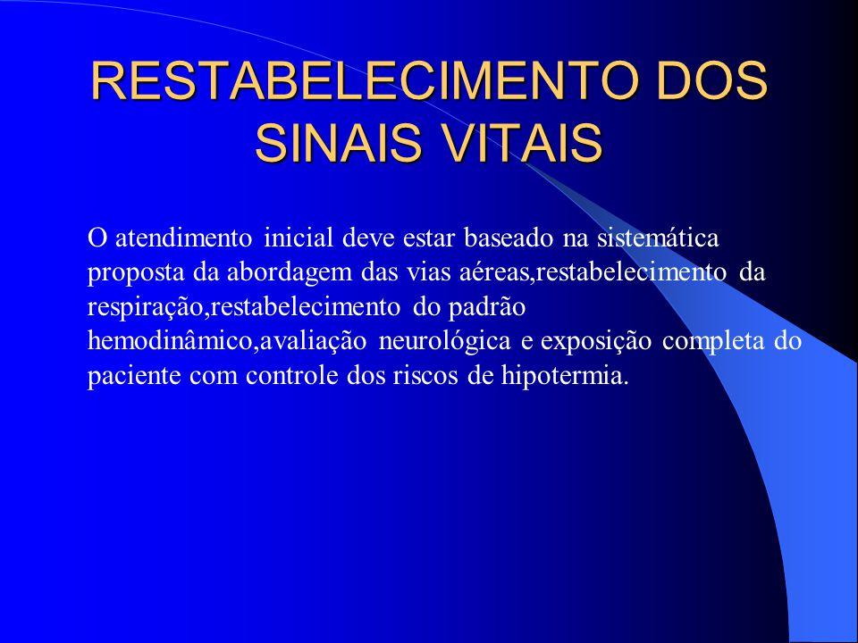 RESTABELECIMENTO DOS SINAIS VITAIS O atendimento inicial deve estar baseado na sistemática proposta da abordagem das vias aéreas,restabelecimento da r