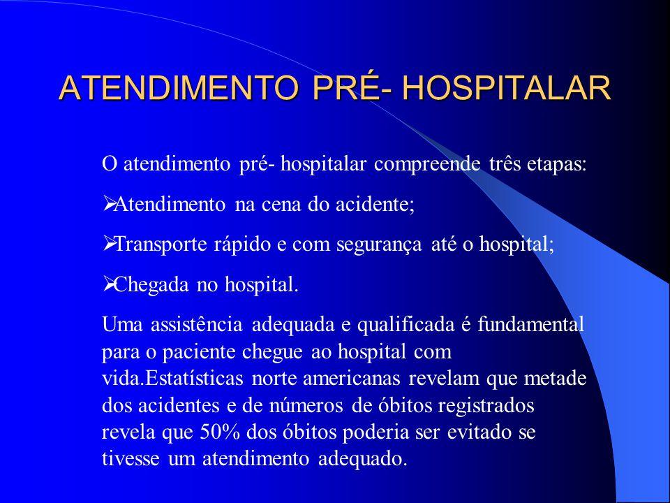 ATENDIMENTO PRÉ- HOSPITALAR O atendimento pré- hospitalar compreende três etapas: Atendimento na cena do acidente; Transporte rápido e com segurança a